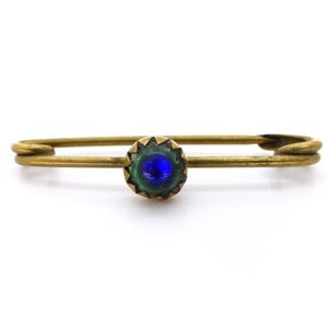Image of Vintage Minature Peacock Eye Foil Glass Bead Metal Pin Brooch