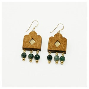 Image of Garden Window Earrings - Wood
