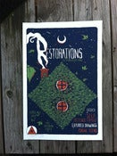 Image of Restorations LP2 release show poster (only 3 in this color)