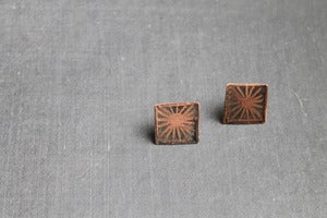 Image of deco sunburst copper studs