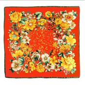 Image of  Vintage Style Floral Scarf -Orange