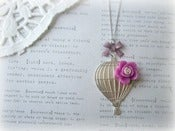 Image of Silver Hot Air Balloon Necklace with Purple Flower