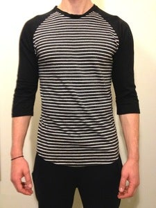 3/4 Raglan Sleeve Black &amp; Grey Stripes
