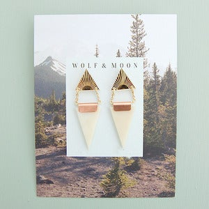 Image of Double Triangle Earrings in Gold and Ivory Perspex by Wolf and Moon
