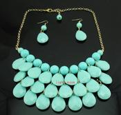 Image of Teardrop Bib Necklace + Earrings: Aqua