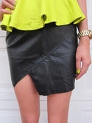 Image of Mega Angled Leather Skirt