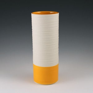Image of Groove Cylinder Vase in Orange
