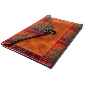 Image of iPad Mini case with a pocket in brown, orange and blue tweed