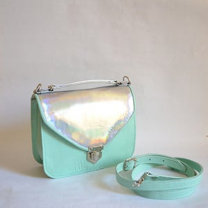 Image of Mady duo Mint green and holographic leather crossbody bag