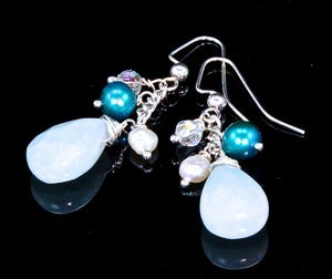 Image of Faceted Aquamarine, Pearl and Sterling Silver Earrings