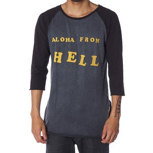 Image of ALOHA FROM HELL RAGLAN | ACID BLACK | BLACK