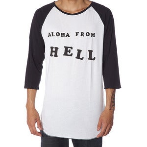 Image of ALOHA FROM HELL RAGLAN | BLACK | NATURAL