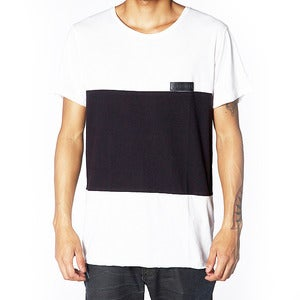 Image of BLOCK PANEL TEE | BLACK | NATURAL