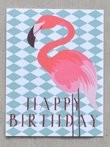 "Image of Flamingo ""Happy Birthday"" Notecard"