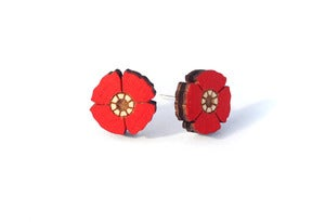 Image of Red Flower Earrings