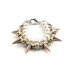 Image of London Calling Skull &amp; Spike Bracelet W/Pearls - Rhodium/Gold/Rose Gold Spikes