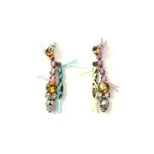 Image of Split Personality Crystal Earrings W/Threads - Mimosa/Lavender