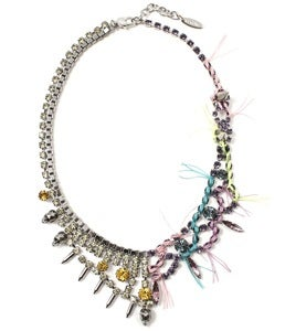 Image of Split Personality Crystal Necklace W/Threads - Mimosa/Lavender