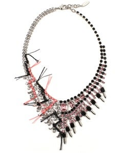 Image of Split Personality Crystal Necklace W/Threads - Crystal/Jet &amp; Rose
