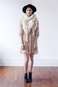 Image of belleville shawl /cowl of thick & thin  wool (shown in  natural)