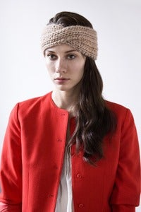 Image of windsor turban of silk+alpaca+merino wool (shown in fawn)