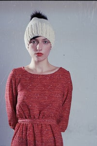 Image of elora slouchy toque of merino wool & fur pom pom