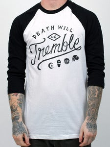Image of DEATH WILL TREMBLE RAGLAN (White/Black)