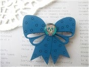 Image of Blue Wooden Bow Hairclip