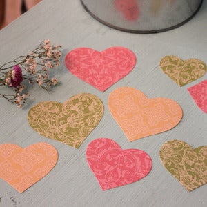 Image of Pack 9 Corazones de Papel Damasco