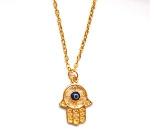 Image of Gold Filigree Hamsa Necklace