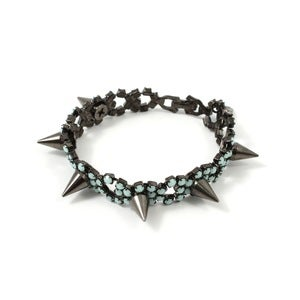 Image of Let Them Eat Cake Crystal Bracelet W/ Spikes - Black/Mint