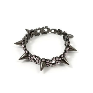 Image of Let Them Eat Cake Crystal Bracelet W/Spikes - Black/Rose