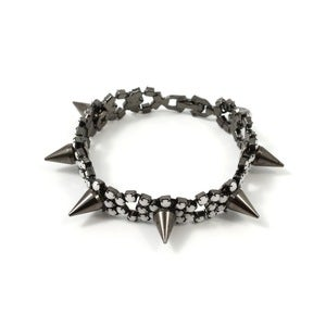 Image of Let Them Eat Cake Crystal Bracelet W/Spikes - Black/White