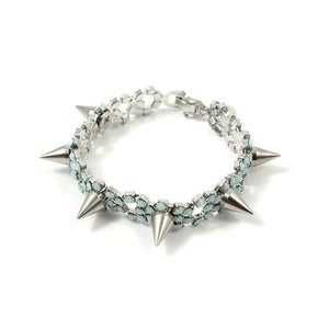 Image of Let Them Eat Cake Crystal Bracelet W/Spikes - Silver/Mint