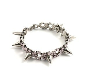 Image of Let Them Eat Cake Crystal Bracelet W/Spikes - Silver/Rose