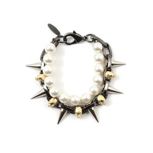 Image of London Calling Skull &amp; Spike Bracelet W/Pearls - Hematite/Gold/Silver Spikes