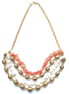 Image of Coral &amp; Pearl Fiesta Necklace