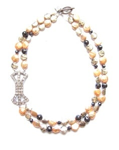 Image of Peach Pearls &amp; Bow Necklace