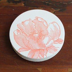 Image of Letterpress Orange Tulip Coasters