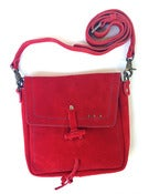 Image of No.90009 mini messenger bag. red suede