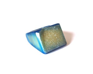 Image of Indigo Raw Druzy Ring (v3)