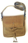 Image of No.90009 mini messenger bag. sand suede