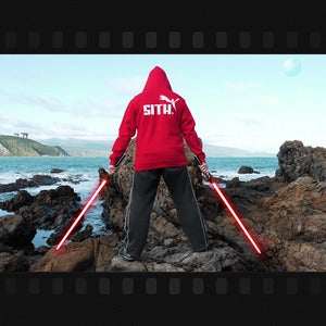 "Image of 2013 CLEARANCE SPECIAL ""Brand Wars: Sith"" - Red hoody in men's medium & XL ONLY"
