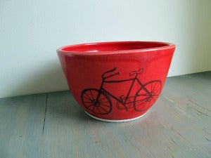 Image of Large Red Bicycle Bowl
