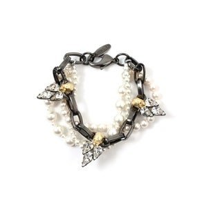 Image of London Calling 2-tone Skull &amp; Crystal Bracelet W/Pearls - Hematite/16K Gold/Silver Spikes