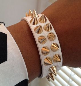 Image of White Multi Row Spiked Bracelet