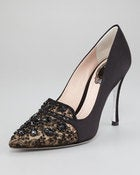 Image of Rene Caovilla Black Bead Embellished Satin Lace Pump SZ 36.5
