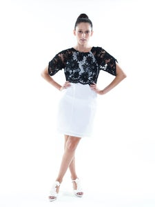 Image of S 2013 Satin Organza Dress with Lace Top