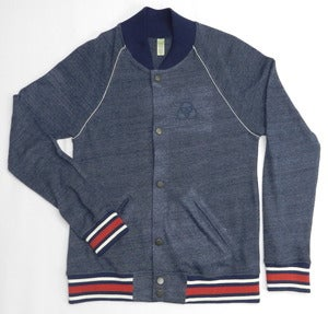 Image of Cashmere Baseball Jacket True Navy/ Ivory/ True Red
