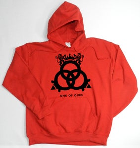 Image of Red Hooded Sweatshirt Black Logo